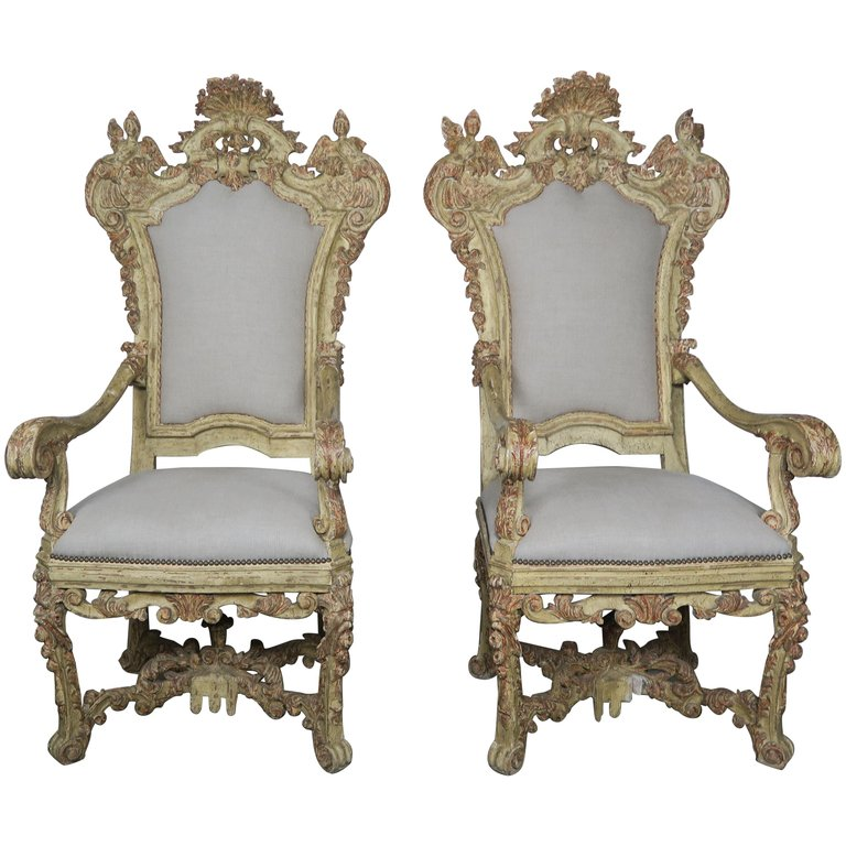 Pair of Italian Carved Painted Armchairs, 19th Century $9,500
