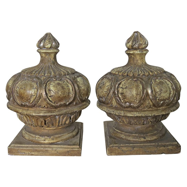 Pair of Italian Painted Wood Carved Finials with Flames $1,400
