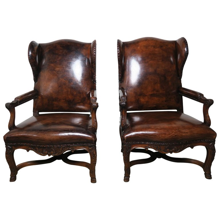 Awesome Pair Of Regency Style French Leather Wing Back Armchairs Squirreltailoven Fun Painted Chair Ideas Images Squirreltailovenorg
