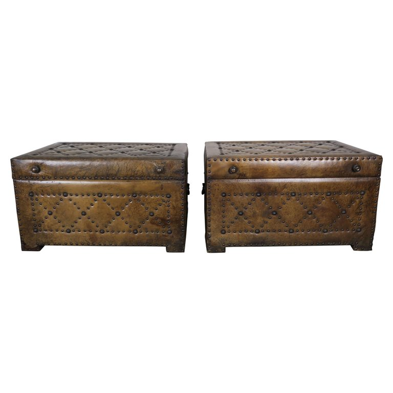 Pair of Spanish Leather Tufted Chests with Nailhead Trim $2,800