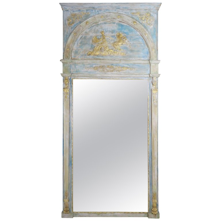 Roman Classical Style Painted Mirror with Chariot and Horses $7,500