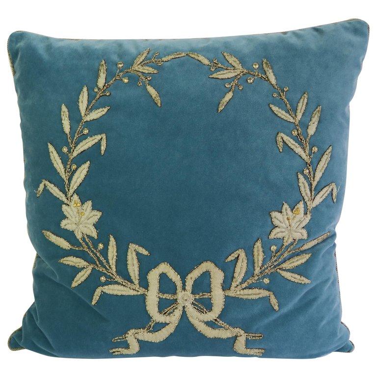 Silver Laurel Leaf Wreath Velvet Pillow $950