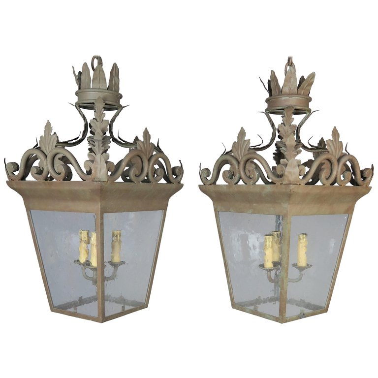Spanish Hand-Wrought Iron Lanterns with Pitted Glass, Pair $3,800