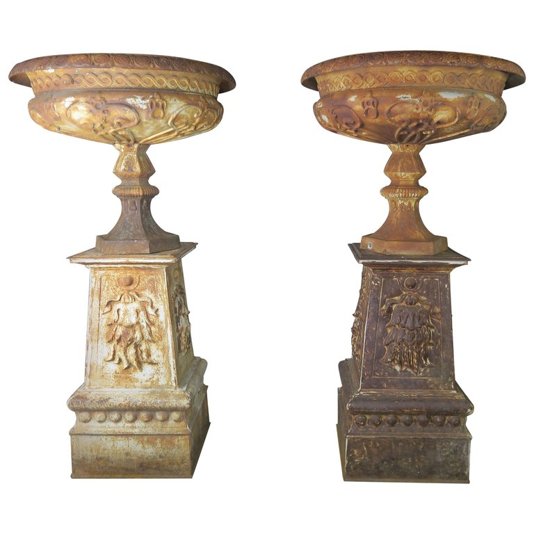19th Century Art Nouveau Monumental French Cast Iron Urns on Bases $18,000