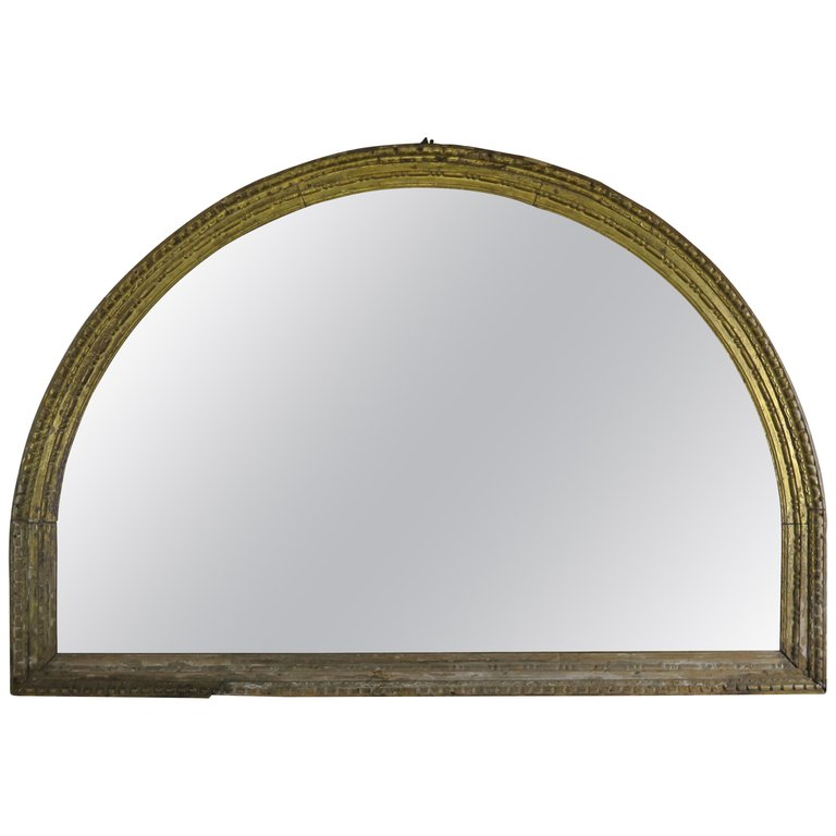 Early 19th C. Italian Giltwood Carved Arched Mirror $3,800