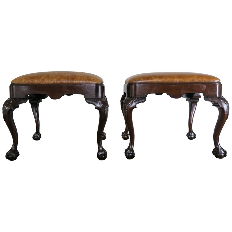 English Queen Anne Style Mahogany Leather Benches, Pair $2,400