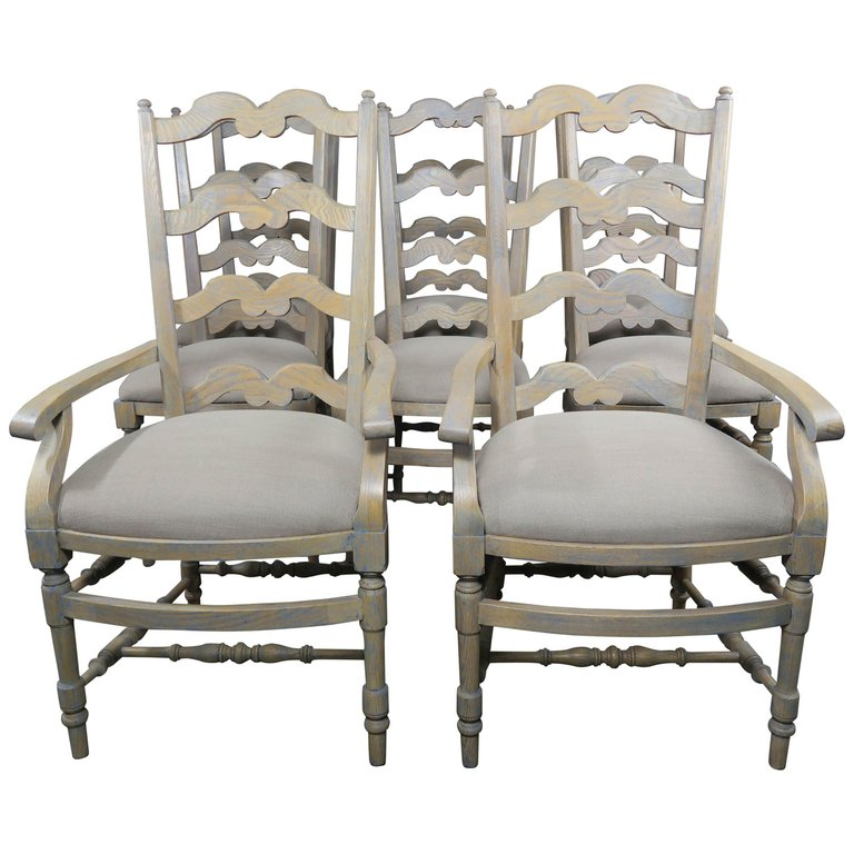 French Country Ladder Back Painted Dining Chairs, Set of 8 $4,800