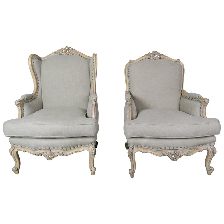 French Louis XV Style Carved Wood Armchairs, His & Her $4,800
