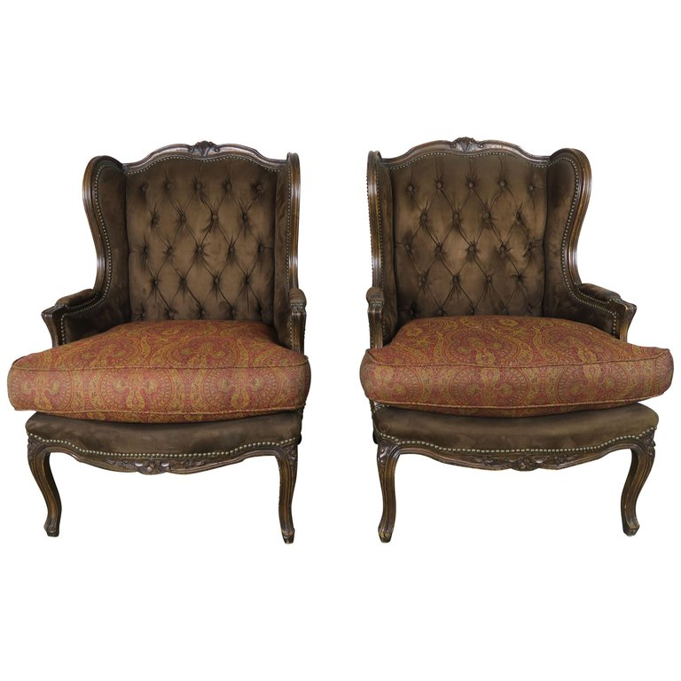 French Louis XV Style Walnut Wingback Armchairs, Pair $3,800