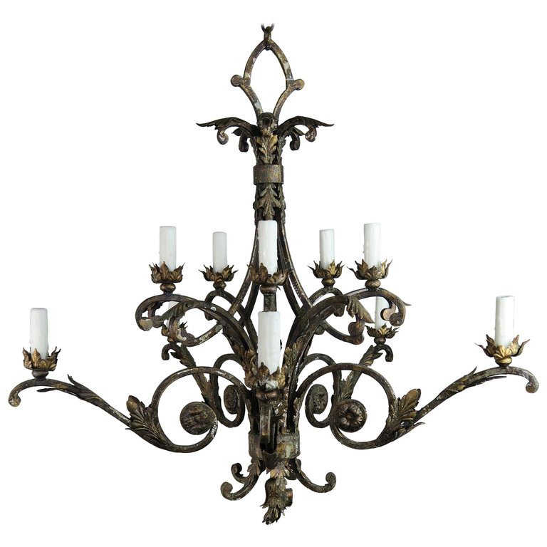 French Two-Tier Wrought Iron Light Chandelier $3,500