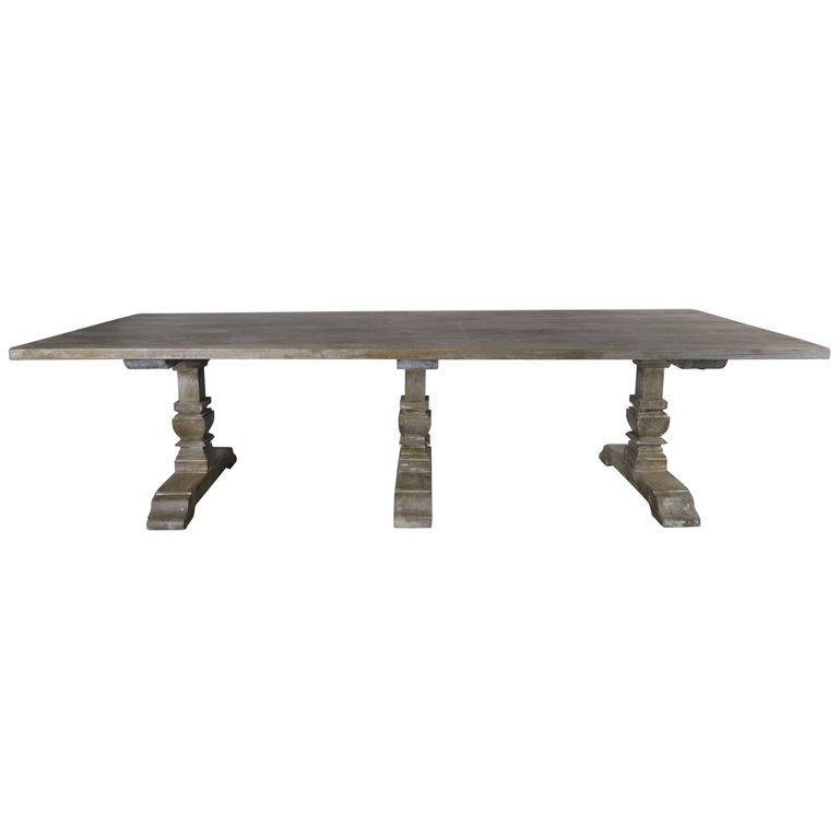 Italian Rectangular Shaped 3 Pedestal Dining Table Melissa Levinson Antiques
