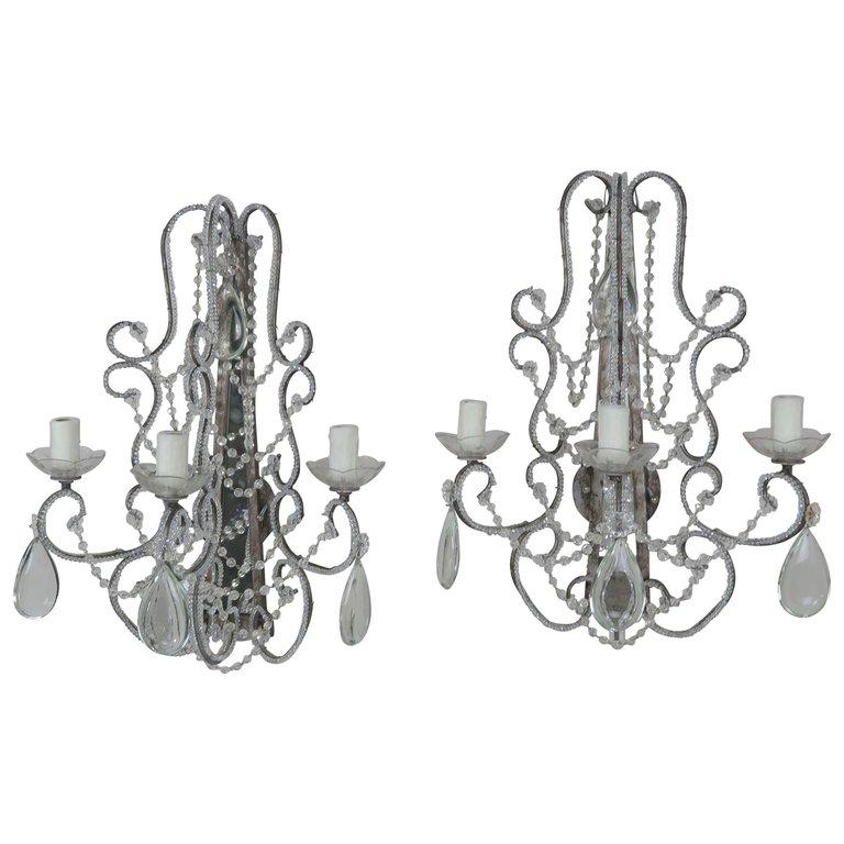 Italian Style Crystal Beaded Mirrored Sconces, a Pair $2,800