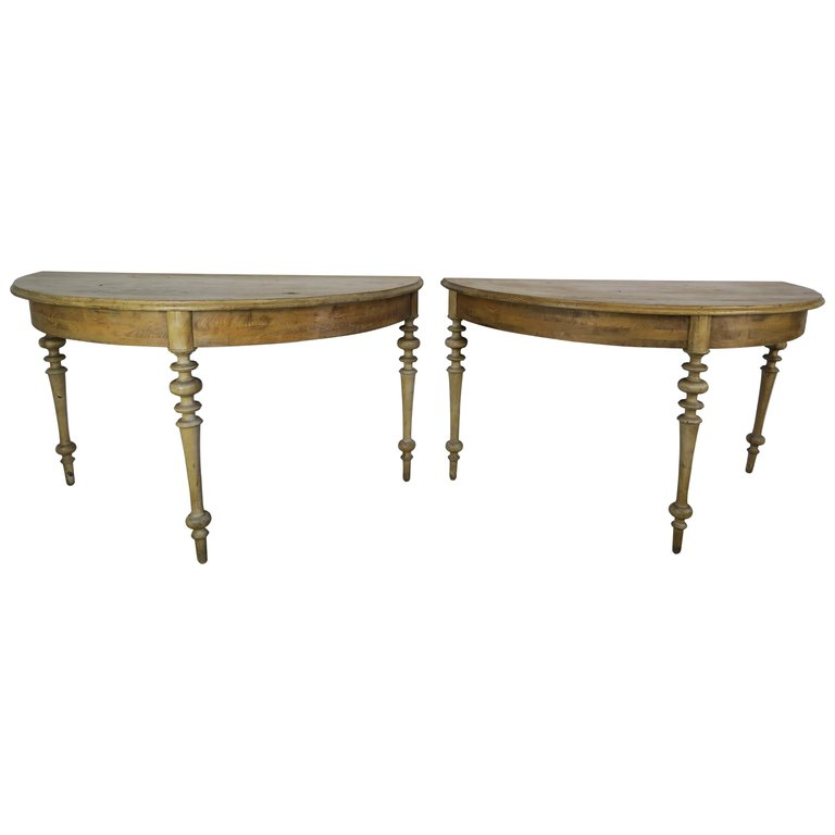 Pair of 19th Century Swedish Pine Wood Consoles $4,950