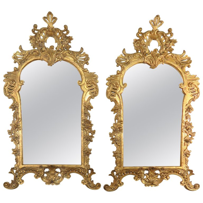 Pair of Monumental French Louis XV Style Giltwood Mirrors $9,850