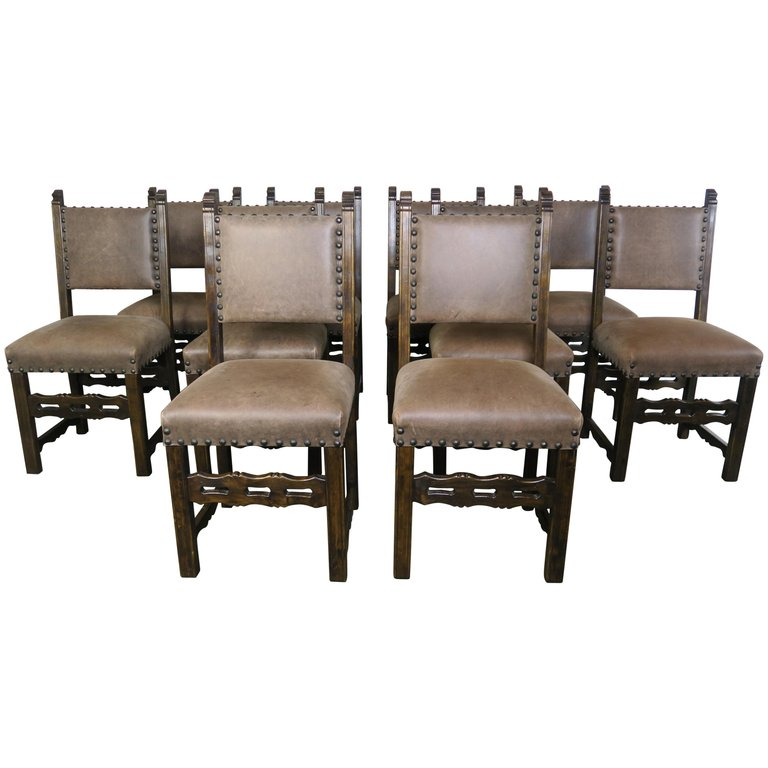 Set of Ten Spanish Style Leather Dining Chairs $6,800