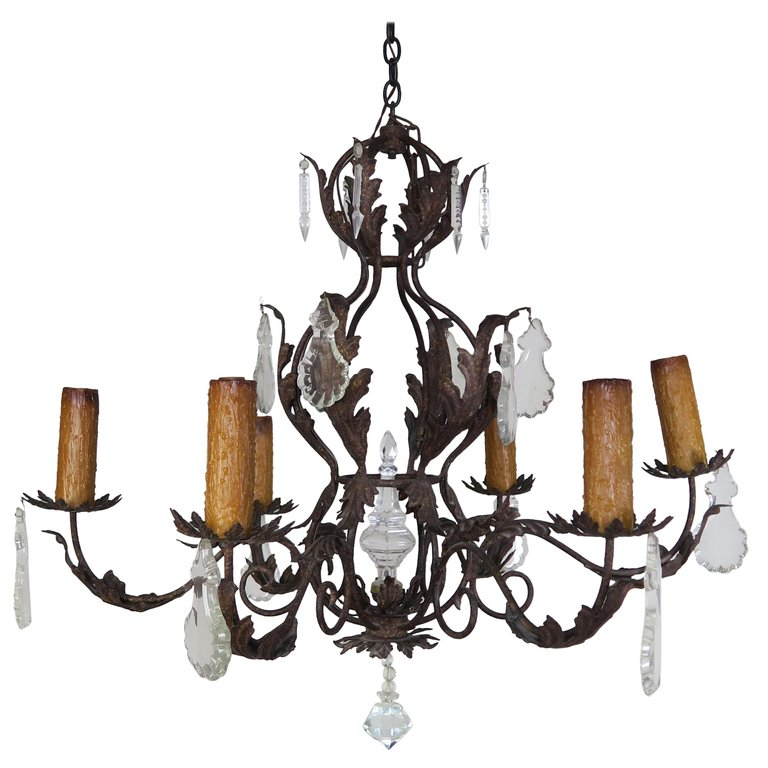 Six Light Spanish Style Wrought Iron Chandelier with Crystal Drops $4,800