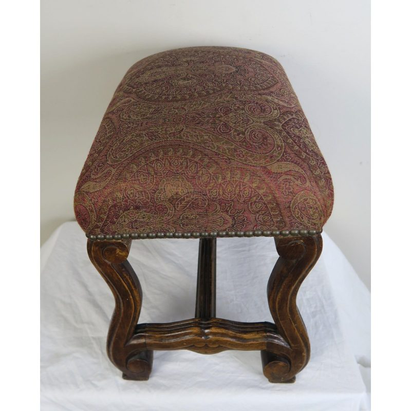 spanish-walnut-bench-w-paisley-upholstery-c-1940-5135