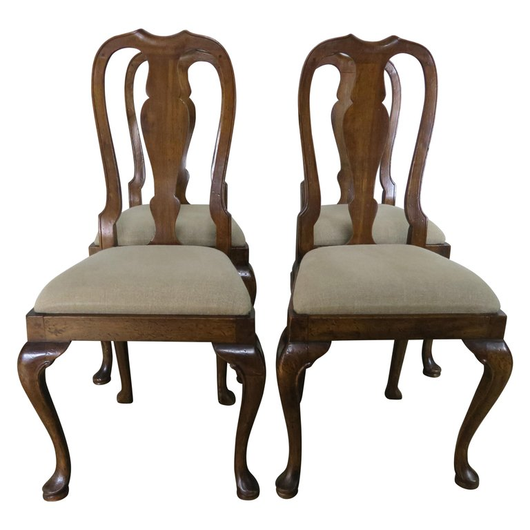 English Queen Anne Style Side Chairs, Set of Four $2,800