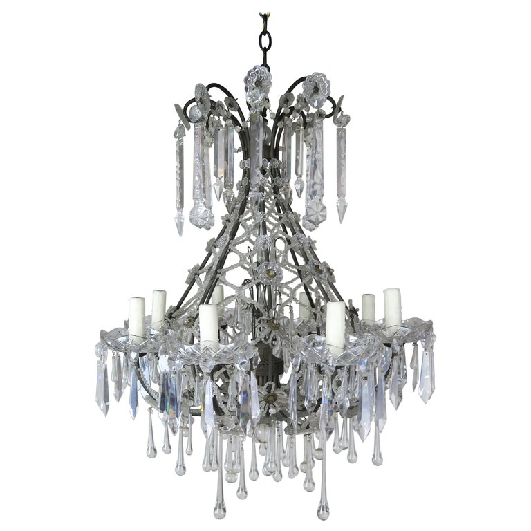 French Louis XV Style Crystal Chandelier, circa 1940s $4,800