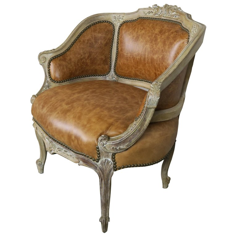 French Louis XV Style Leather Armchair, circa 1920s $2,200