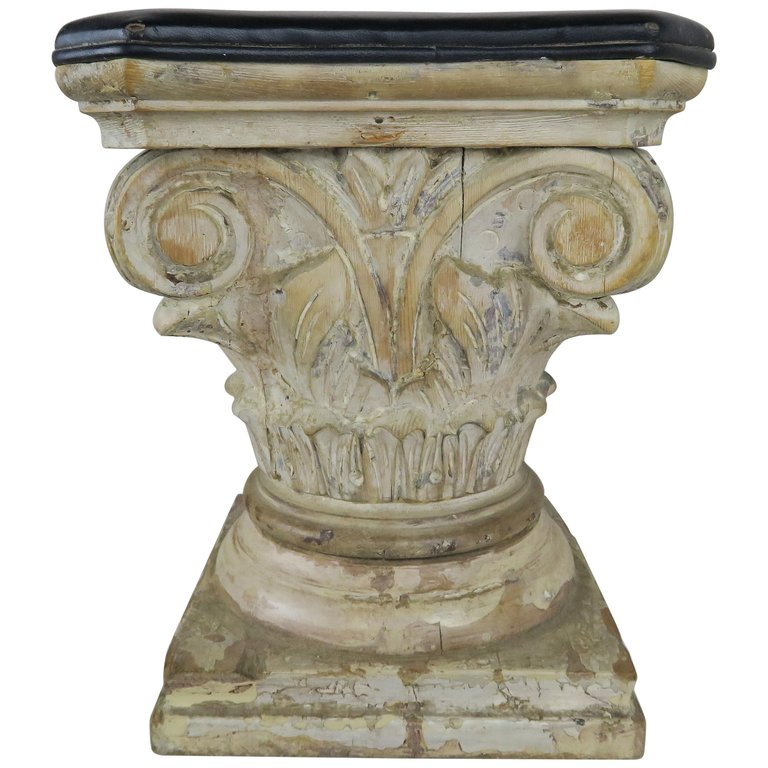 Leather and Wood Carved Capital Stool $975