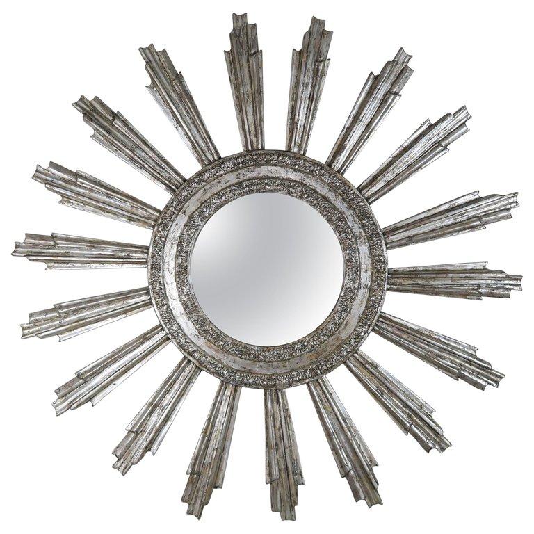Monumental Silvered Sunburst Mirror by Melissa Levinson $5,800