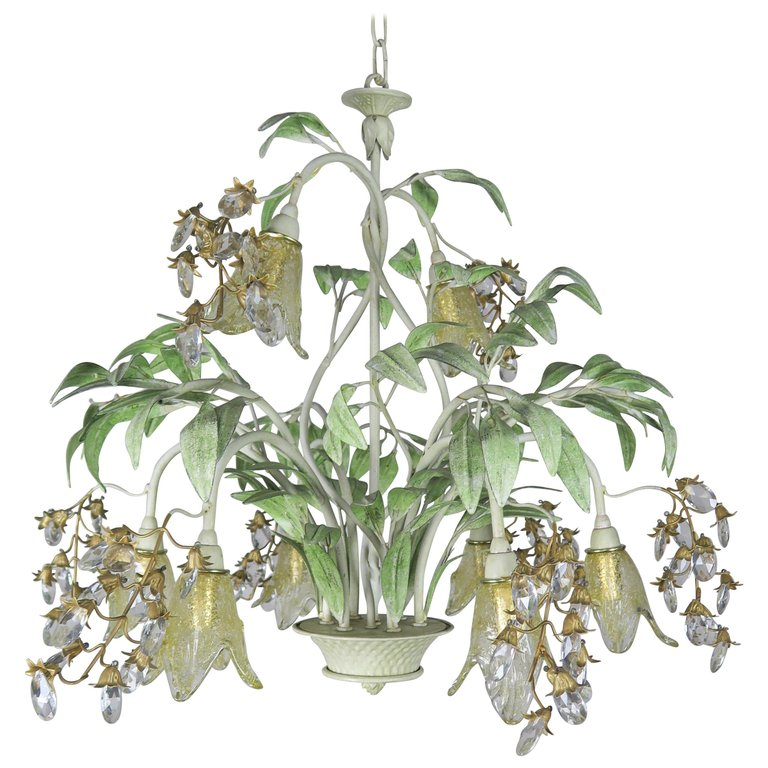 Painted Tole and Murano Glass Chandelier, circa 1930s $2,800