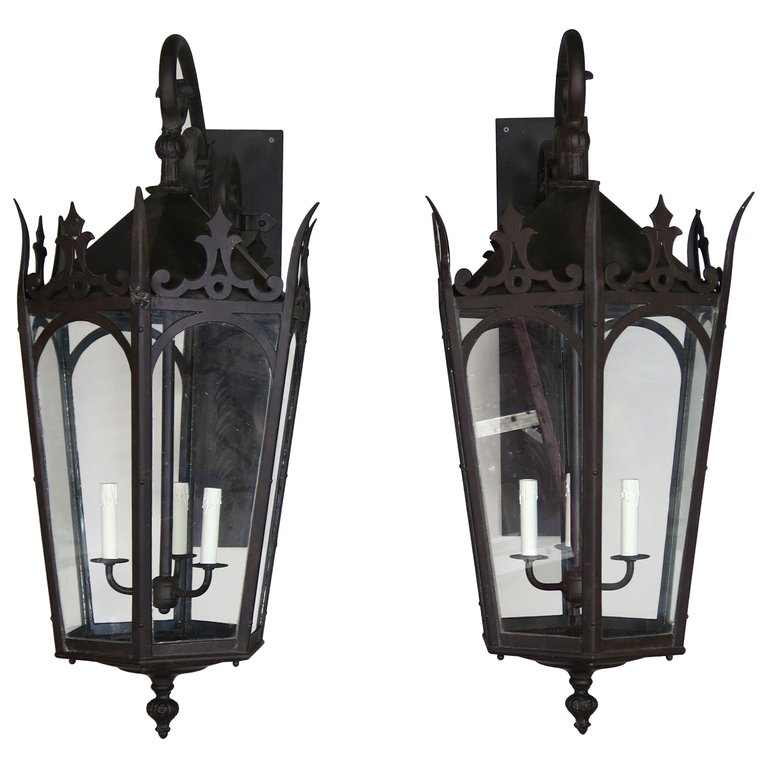 Pair of French Wrought Iron Gothic Style Lantern Sconces $3,800