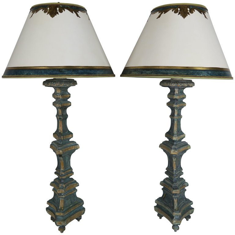 Pair of Italian Painted Candlestick Lamps with Parchment Shades $3,800