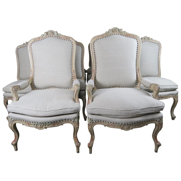 Set of 14 French Painted Louis XV Dining Chairs $14,000