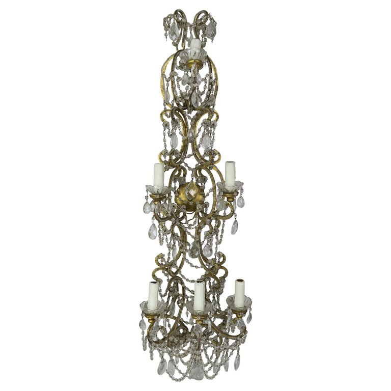 Six-Light Italian Beaded Crystal Sconce, circa 1940s $1,950