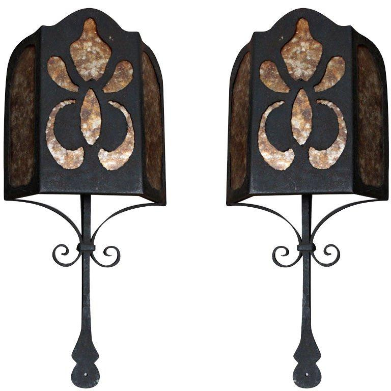 Spanish Wrought Iron and Mica Wall Sconces, Pair $3,800