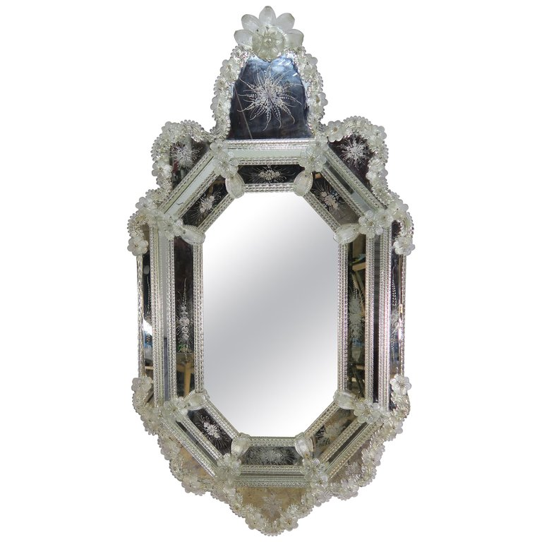 Venetian Etched Glass Octagonal Shaped Mirror, circa 1930s $4,800