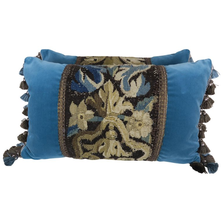 18th Century French Tapestry Pillows with Tassel Fringe Detail $950