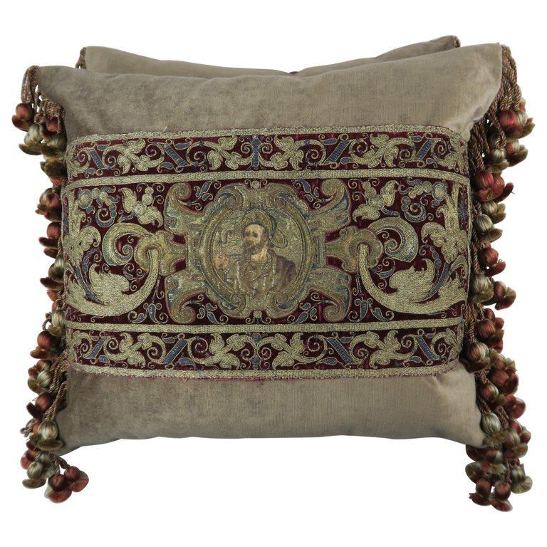 18th Century Italian Metallic Embroidered Apostle Pillows by Melissa Levinson $4,800