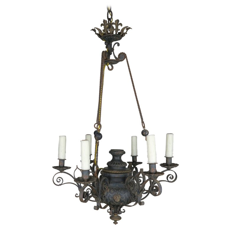 19th Century Six-Light French Chandelier with Cherubs and Fleur-de-Lis