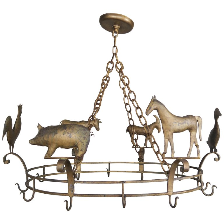 Charming Gilt Metal Pot Rack with Farm Animals, circa 1940