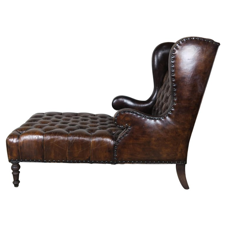 Leather Tufted Wingback Chaise with Nailhead Trim Detail