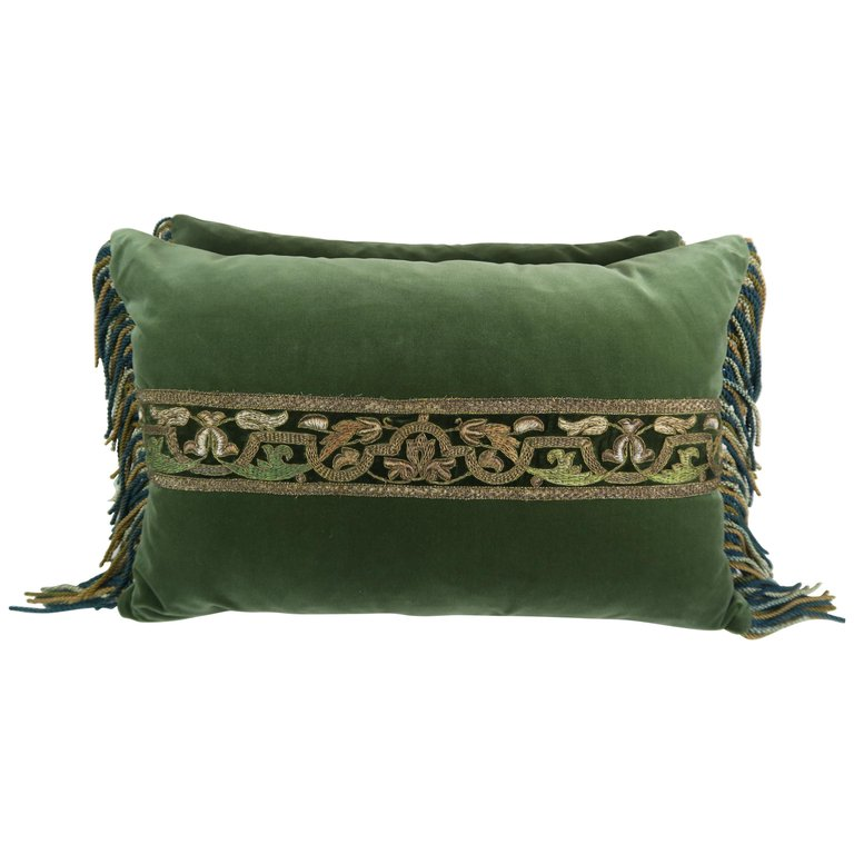 Pair of 19th Century Metallic Embroidered Velvet Pillows by Melissa Levinson $1,200