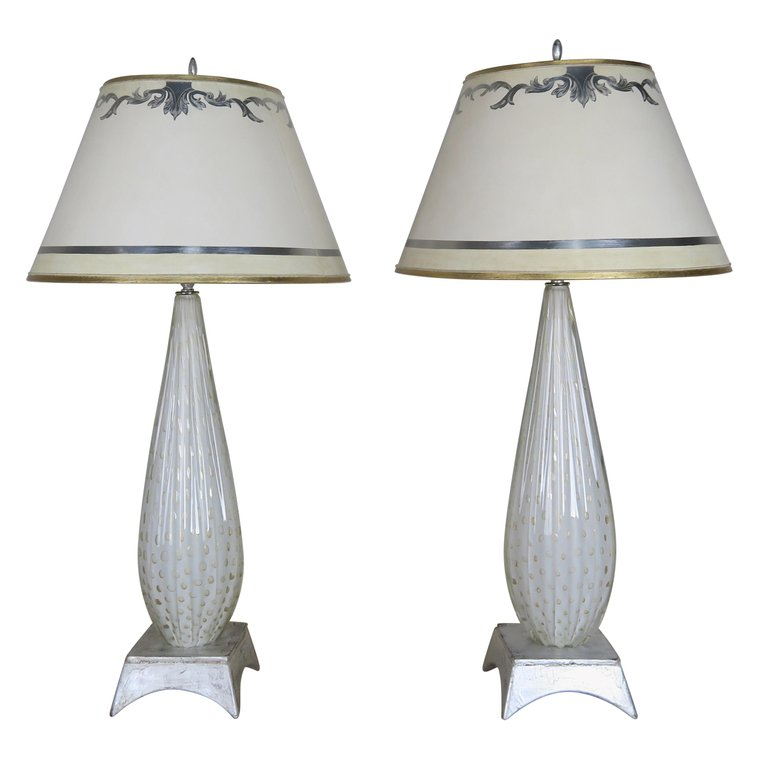 Pair of White Murano Glass Lamps with Parchment Shades $4,500