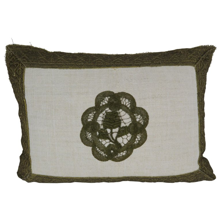 19th Century French Metallic Lace Rose Linen Pillow by Melissa Levinson $350
