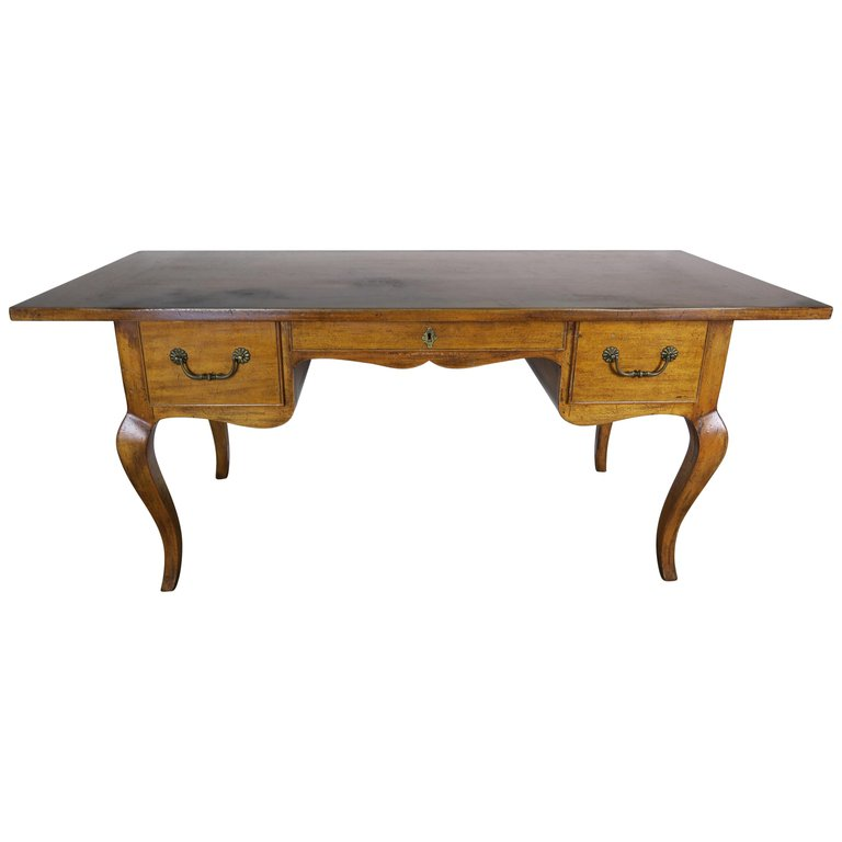 French Country Walnut Desk with Drawers circa 1930 $3,800