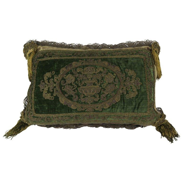 French Metallic Embroidered Silk Velvet Pillow with Metallic Tassels $1,250