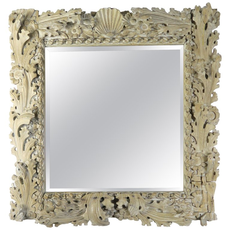 Italian Carved Bleached Walnut Acanthus Leaf and Shell Mirror $2,400