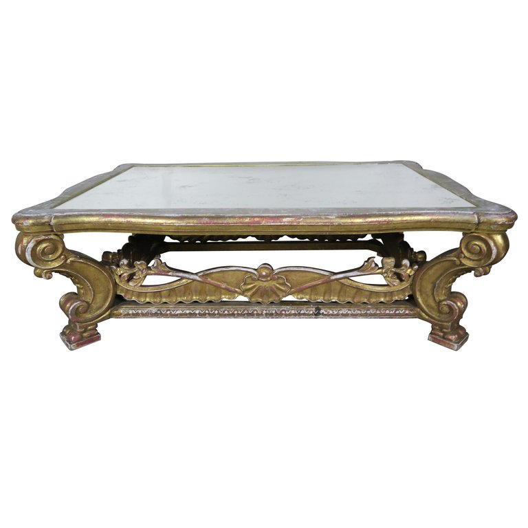 Italian Giltwood Coffee Table with Antique Mirrored Top $4,800