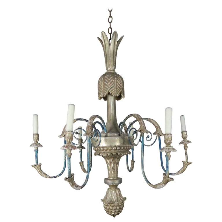 Italian Style Carved Silvered and Painted Chandelier $4,800