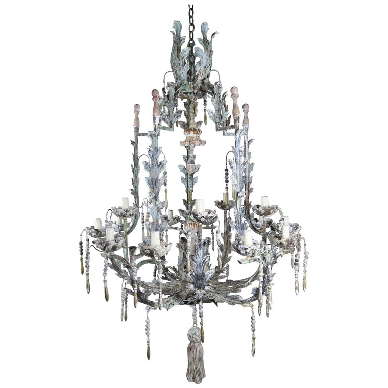 italian wrought iron and wood painted tassel chandelier