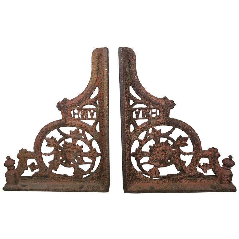 Pair of 19th Century American Painted Cast Iron Architectural Brackets AMH $2,800
