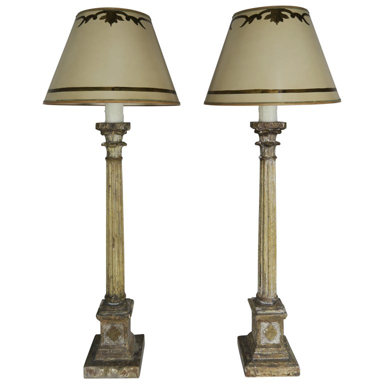 Pair of Italian Carved Neoclassical Style Lamps with Parchment Shades $2,800