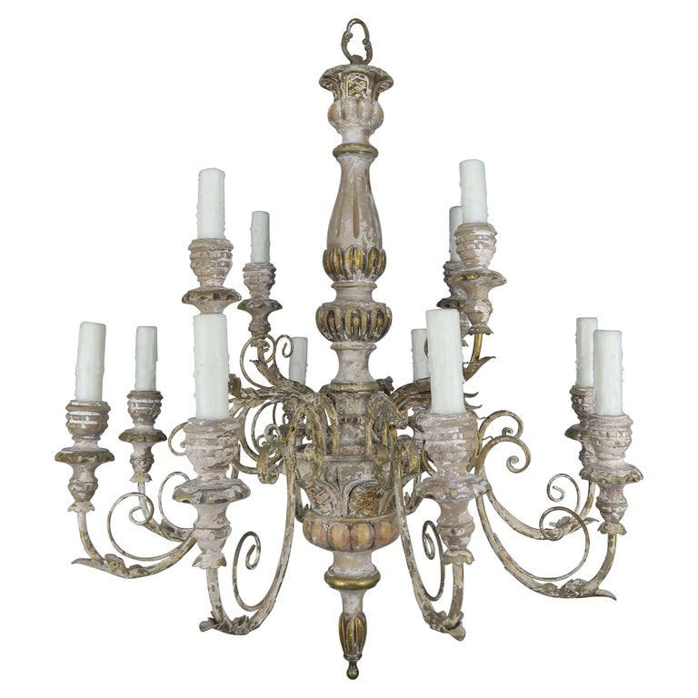 '12' Light French Painted Carved Wood Chandelier $3,800
